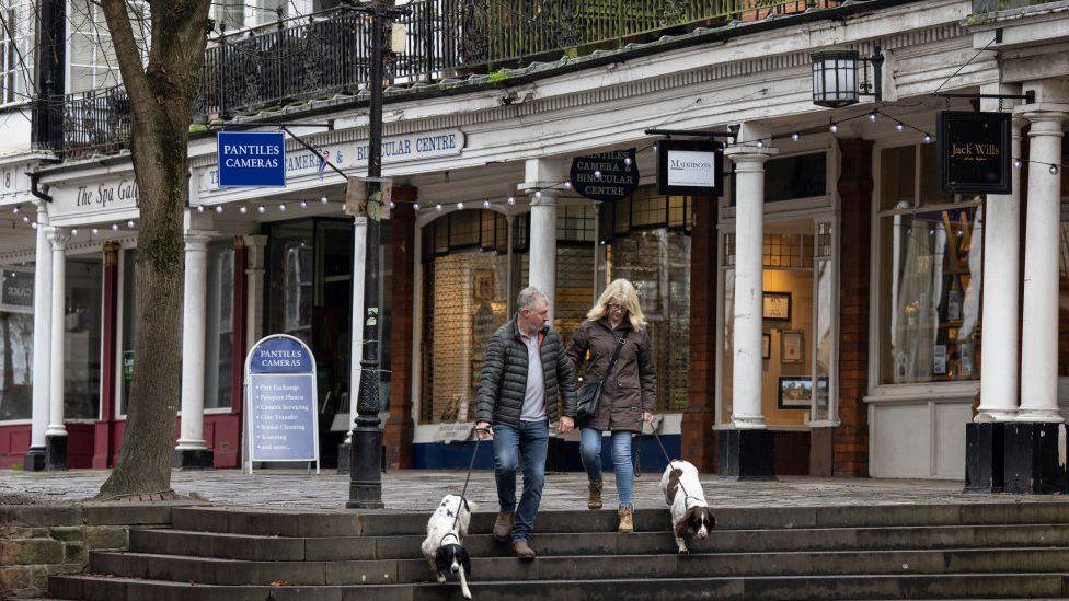 Couple walking their dogs in Tunbridge Wells