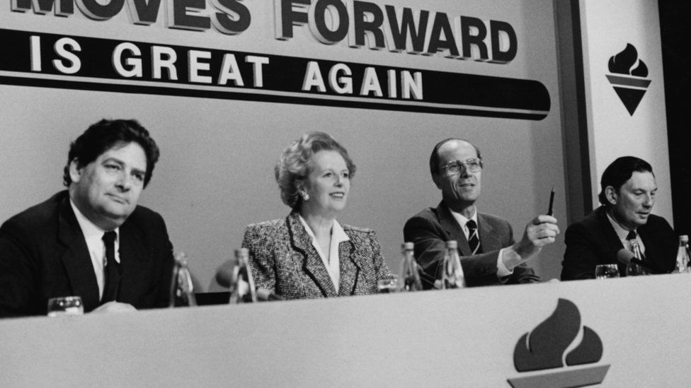 British Prime Minister Margaret Thatcher, with (L-R) Chancellor Nigel Lawson, party Chairman Norman Tebbit and Trade and Industry Secretary Paul Channon