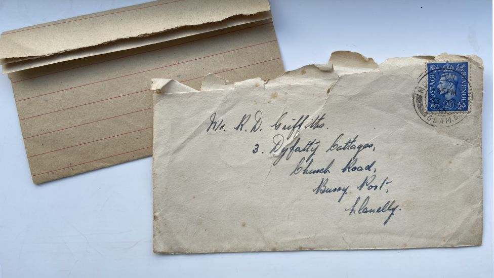 A letter sent to Ron Griffiths from a friend during World War Two