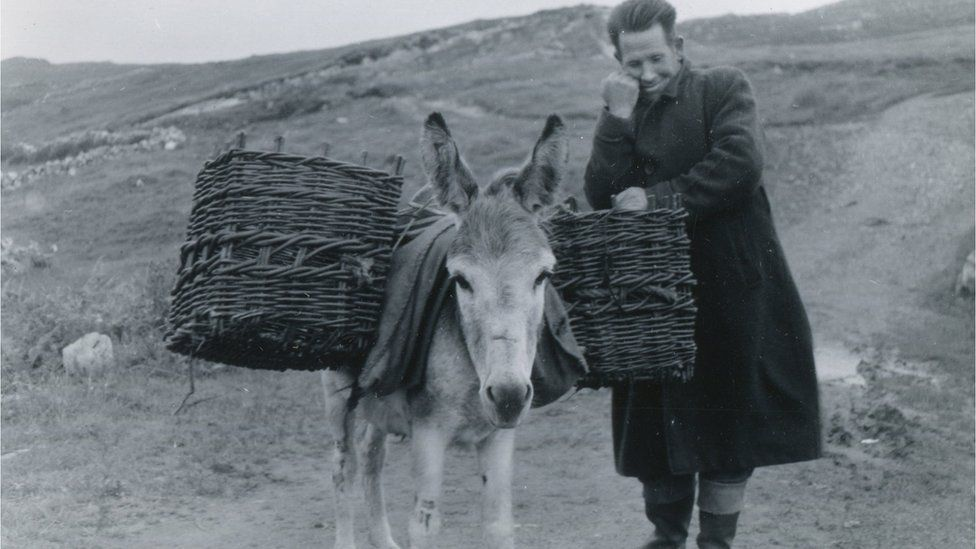 man and donkey in rural ireland