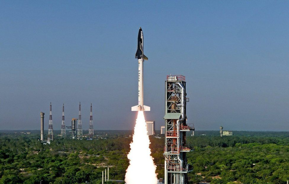 A handout photograph released by the Indian Space Research Organization (ISRO) on 23 May 2016 shows India's Reusable Launch Vehicle (RLV)-TD taking off from Sriharikota, Andhra Pradesh, 23 May 2016.