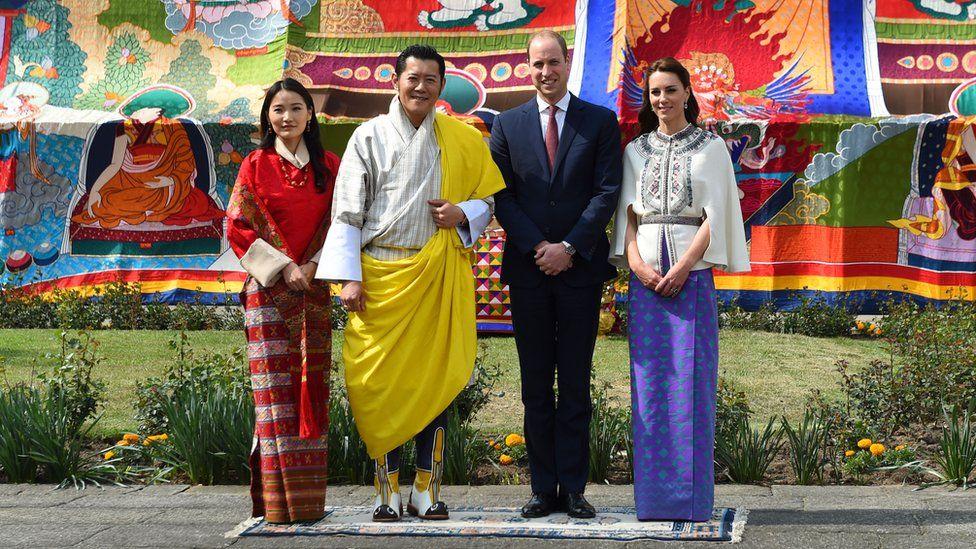The Duke and Duchess of Cambridge with Bhutan's King Jigme Khesar Namgyel Wangchuck and his wife Queen Jetsun Pema