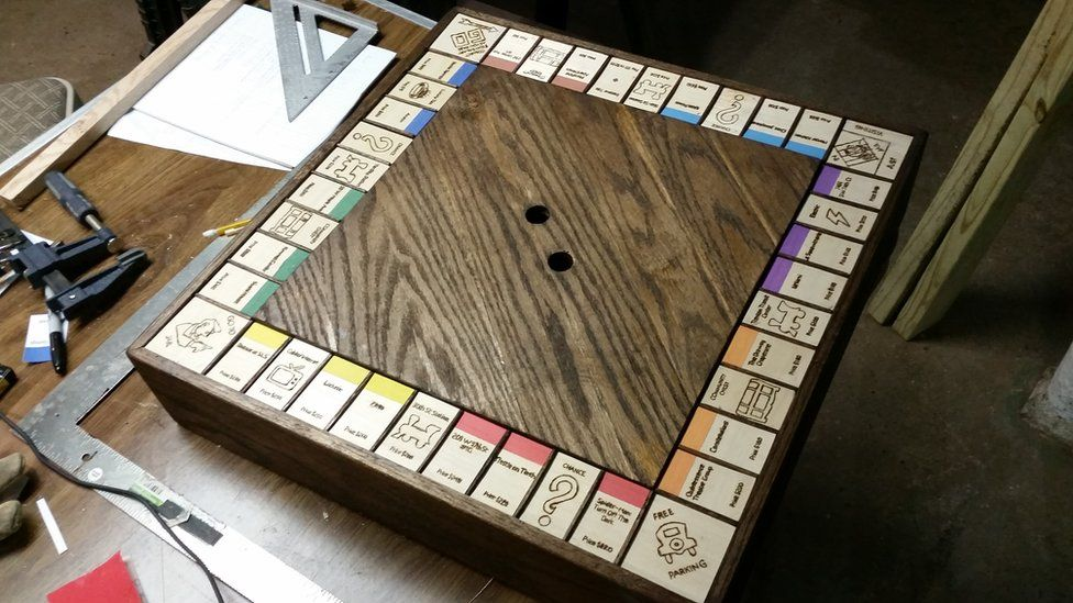 Kevin's home-made Monopoly board