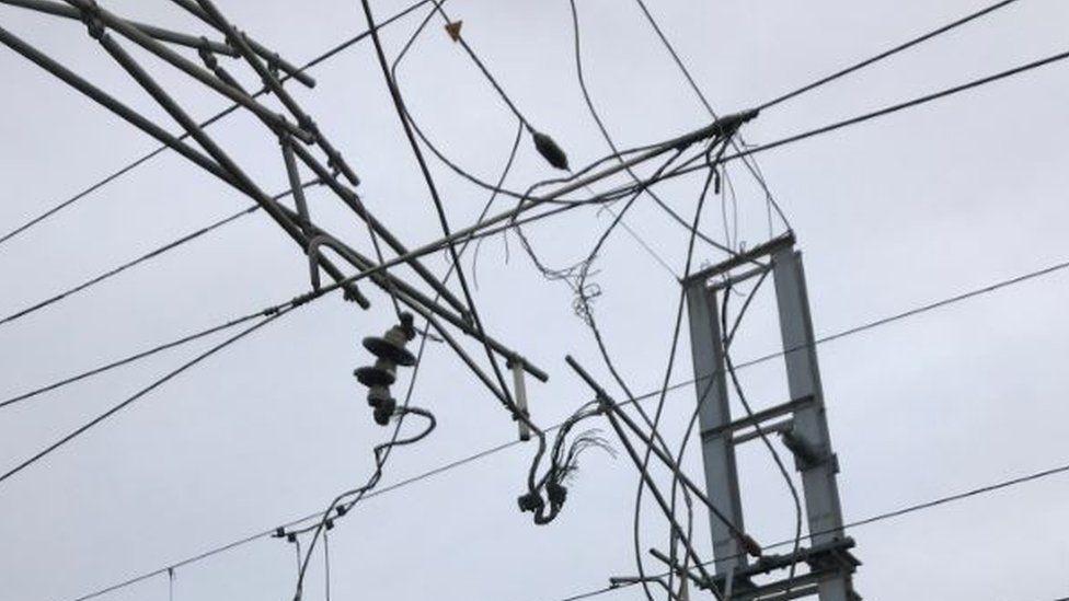 Broken overhead line