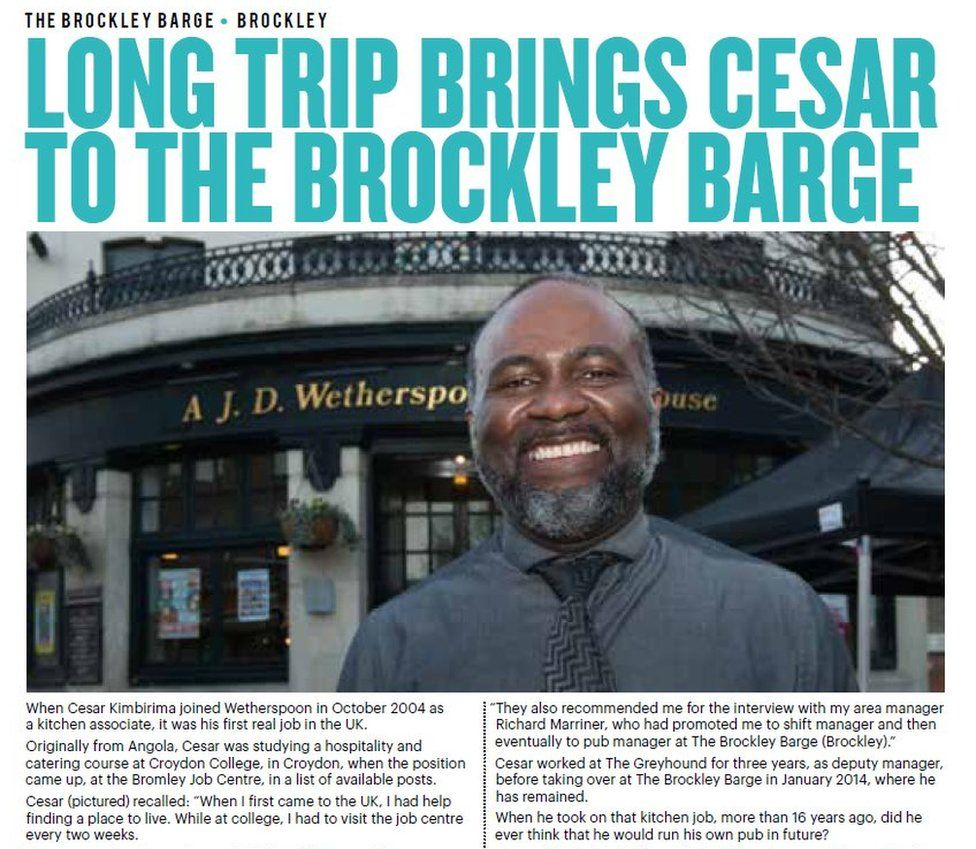 Wetherspoons News article about Cesar