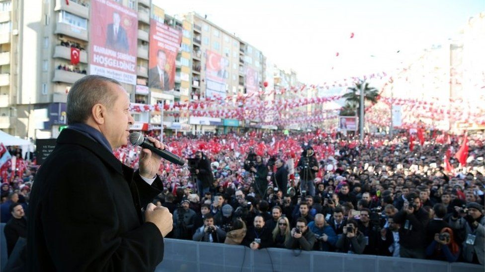 President Erdogan campaigning in Turkey before April's referendum, 17 February 2017