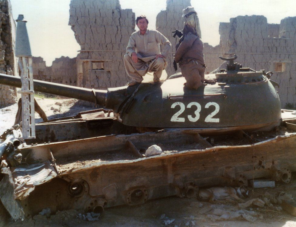 John England on a tank