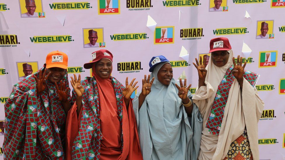 Supporters of President Buhari in Abuja, Nigeria