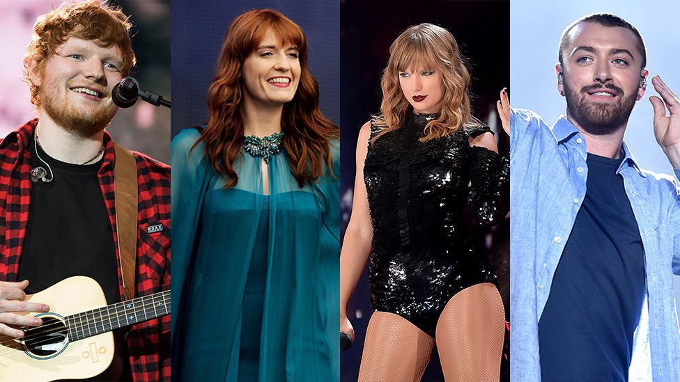 Ed Sheeran, Florence And The Machine, Taylor Swift and Sam Smith