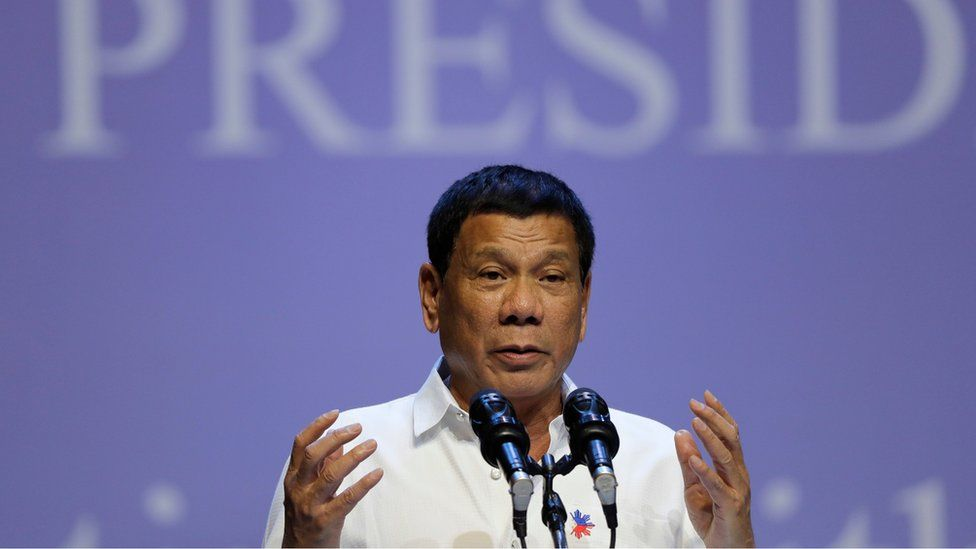 Philippine President Rodrigo Duterte speaks to the Filipino community in Singapore on Friday, 16 December 2016.