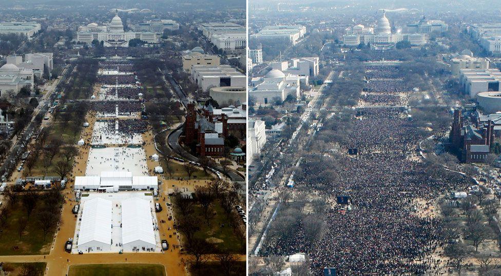 Veja as fotos que fizeram Trump acusar imprensa de ser 'desonesta'