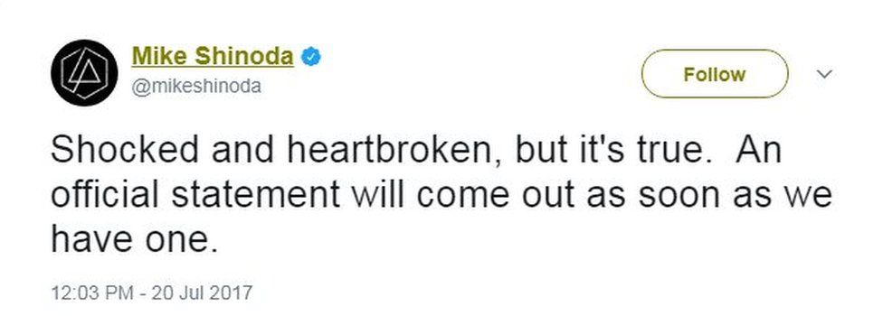 """Mike Shinoda tweets: """"Shocked and heartbroken, but it's true. An official statement will come out as soon as we have one."""""""
