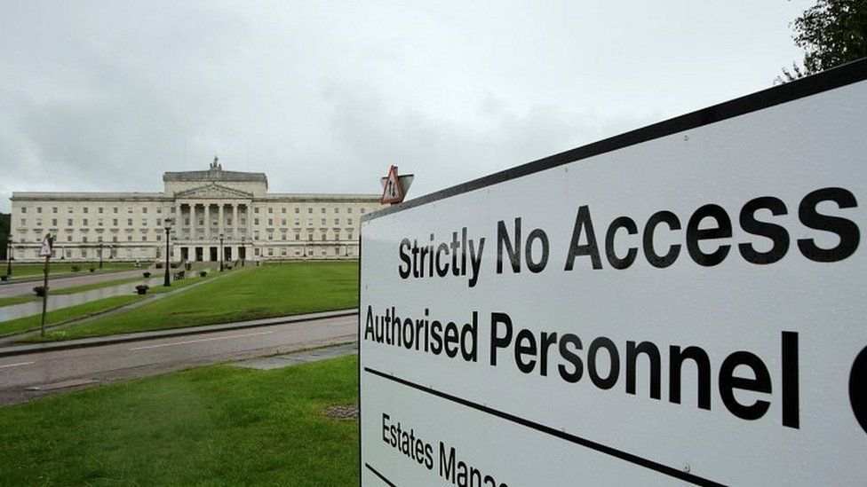 Security signs in the grounds of Stormont's Parliament Buildings