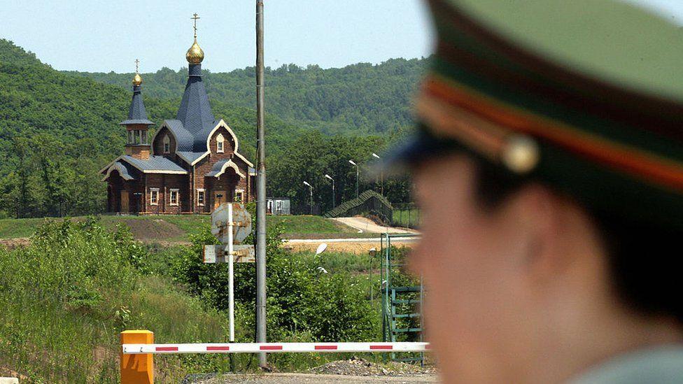 Guard at the Russian border