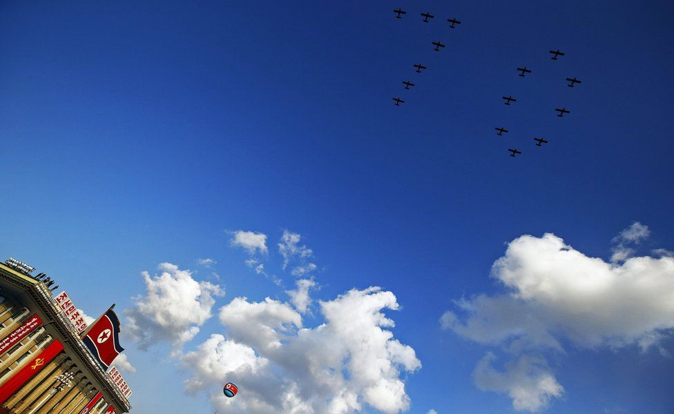 Planes pictured forming the figure 70 in the sky during the military parade for the 70th anniversary of the founding Workers' Party, Pyongyang, North Korea - Saturday 10 October 2015