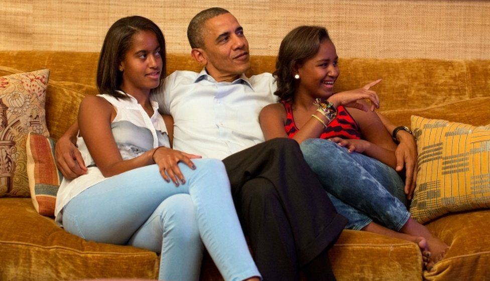 President Barack Obama and his daughters, Malia (left) and Sasha pictured on September 4, 2012