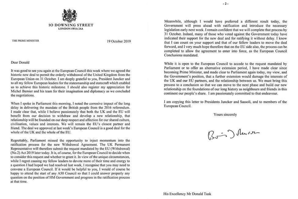 Boris Johnson's Brexit delay letters in full