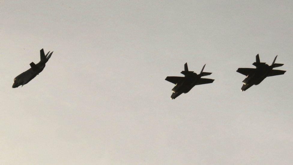 F-35B aircraft fly before landing at Akrotiri base near city of Limassol in Cyprus.