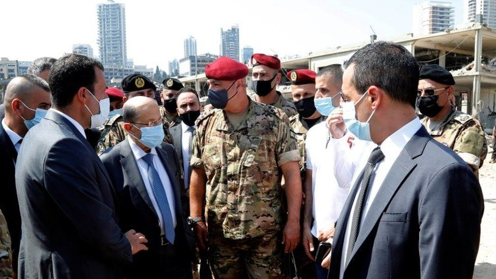 Lebanese President Michel Aoun (second left) visits Beirut's port on 5 August 2020