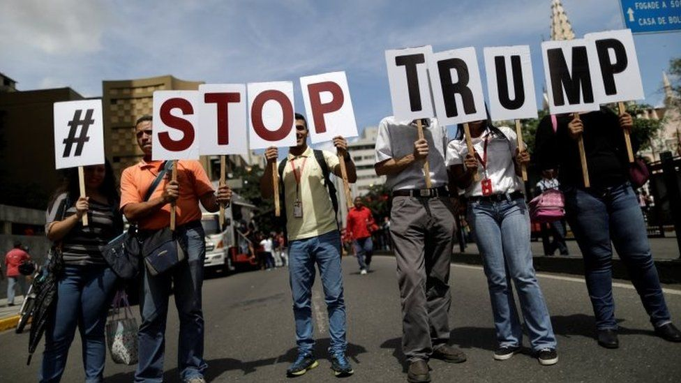 Pro-government supporters rally against US President Donald Trump in Caracas, Venezuela August 14, 2017.