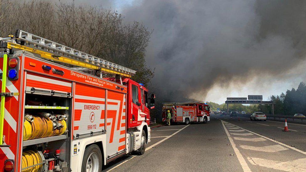 Smoke over the M54 motorway