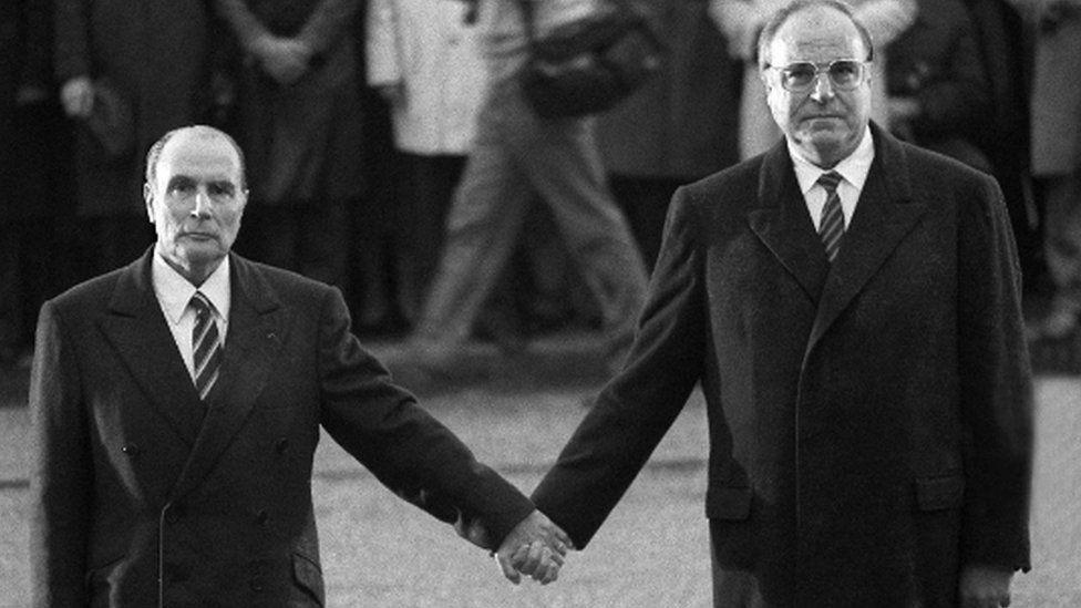 Francois Mitterrand and Helmut Kohl at Verdun