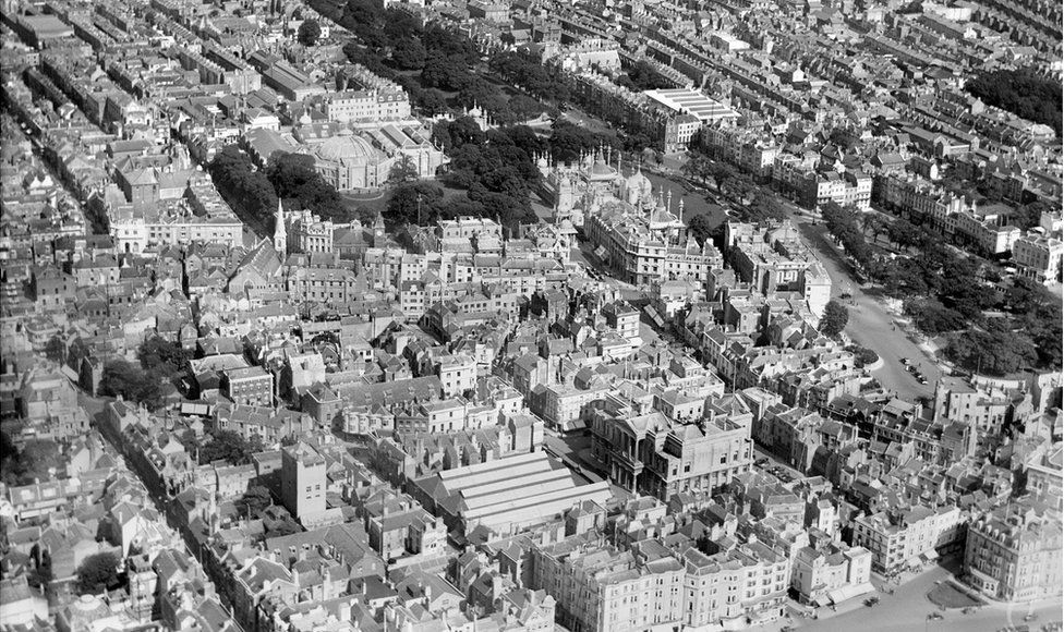 An aerial view of The Royal Pavilion and surrounding streets, Brighton, taken in August 1926