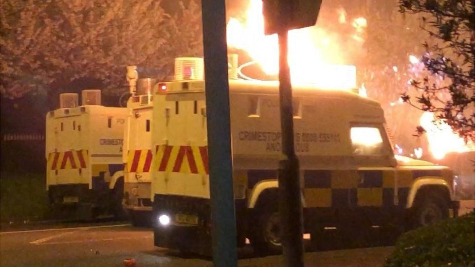 Police Land Rover on fire in Newtownabbey on 3 April