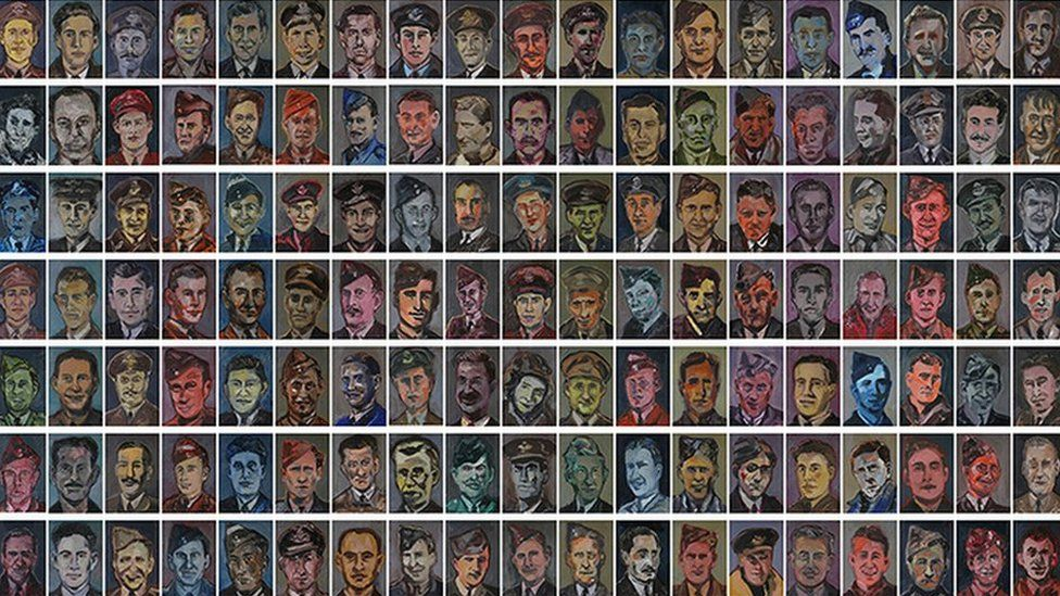 Dan Llywelyn Hall's portraits of the 133 airmen arranged in their squadrons