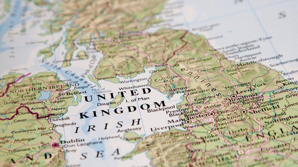 Map showing Irish Sea