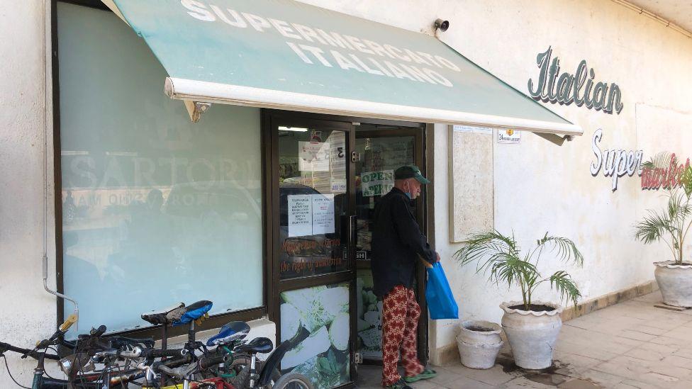 An Italian supermarket in the centre of Malindi, Italy