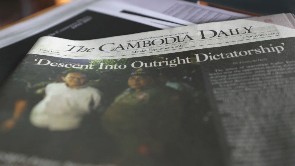 A copy of the final issue of the Cambodia Daily on a desk at the newspaper's office
