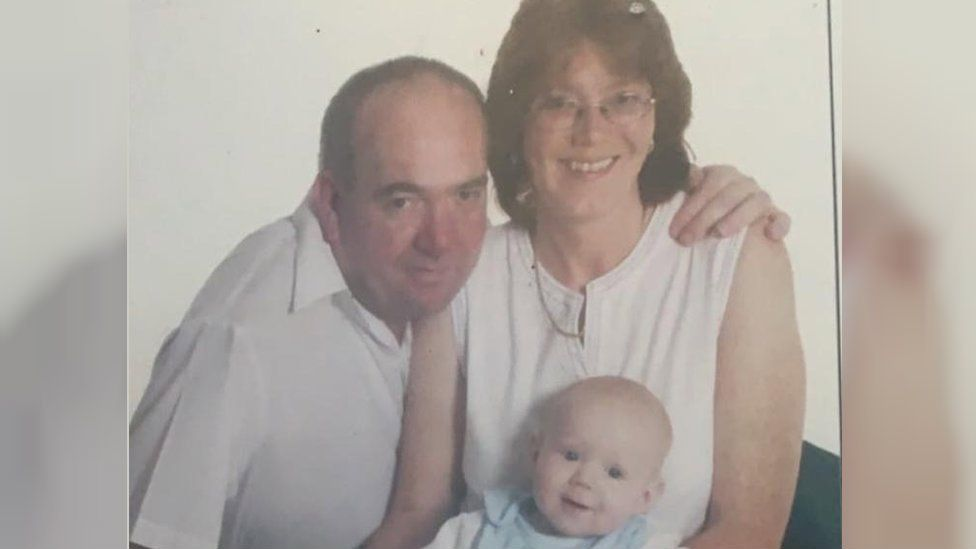 Yvonne pictured here with her late husband and her son.