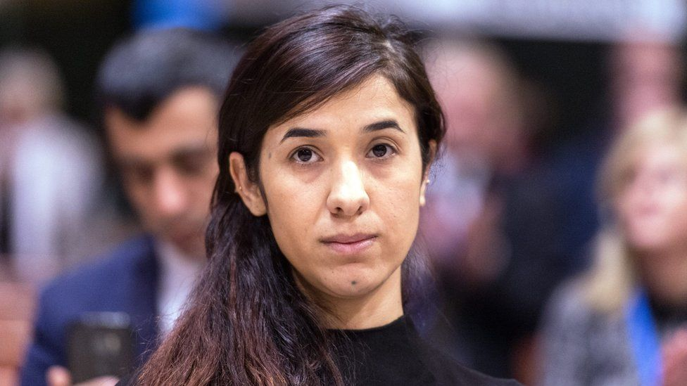 Nadia Murad in Strasbourg accepting her award from the Council of Europe