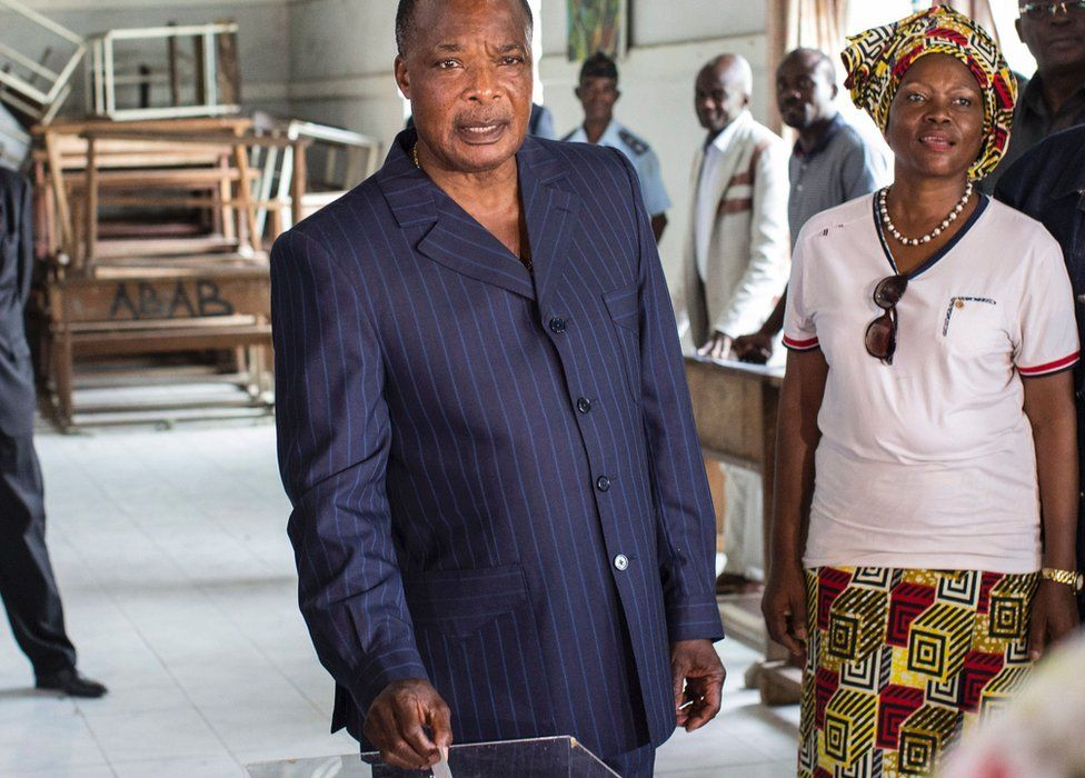 Incumbent Congolese President Denis Sassou Nguesso casts his ballot at a polling station in Brazzaville on March 20, 2016.