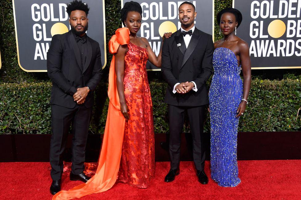 Black Panther director Ryan Coogler with actors Danai Gurira, Michael B Jordan, and Lupita Nyong'o