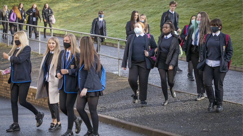 Students at St Andrew's RC Secondary in Glasgow