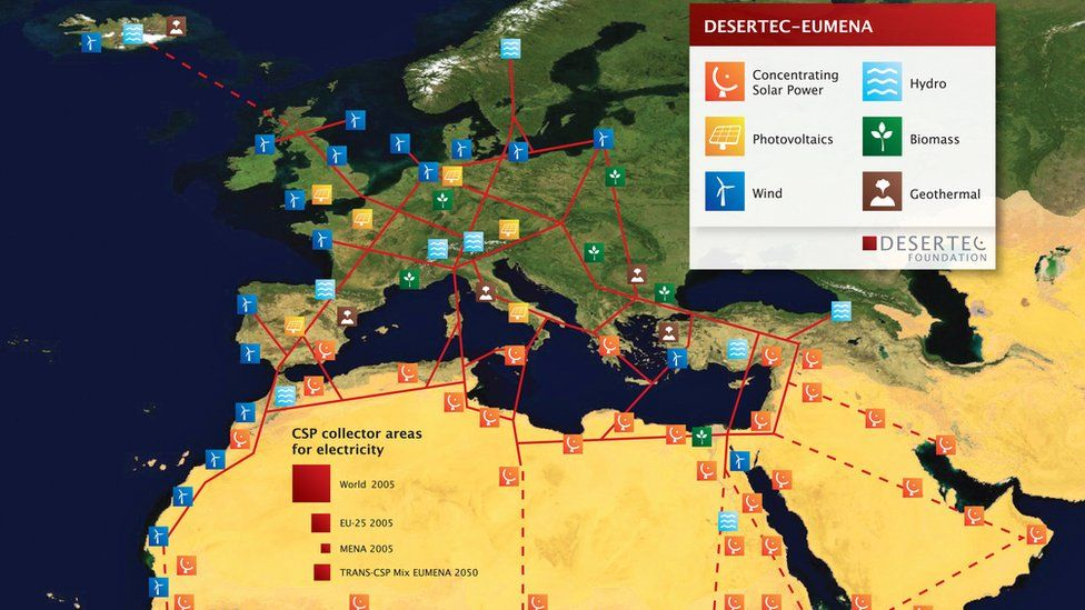 A Desertec map showing possible energy source areas