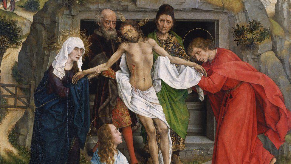 15世纪著名北欧画家罗杰·范·德·韦登(Roger van der. Weyden)的《埋葬》(Entombment )