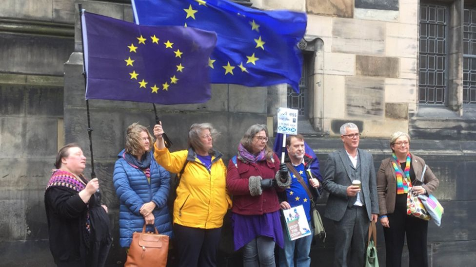Protesters outside the court on Wednesday