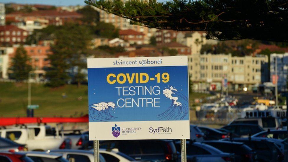 Covid test sign at Bondi Beach, NSW 26 June 2021