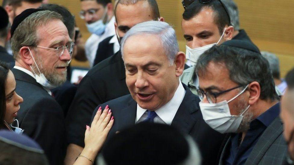 Benjamin Netanyahu attends a parliamentary session in Jerusalem (2 June 2021)