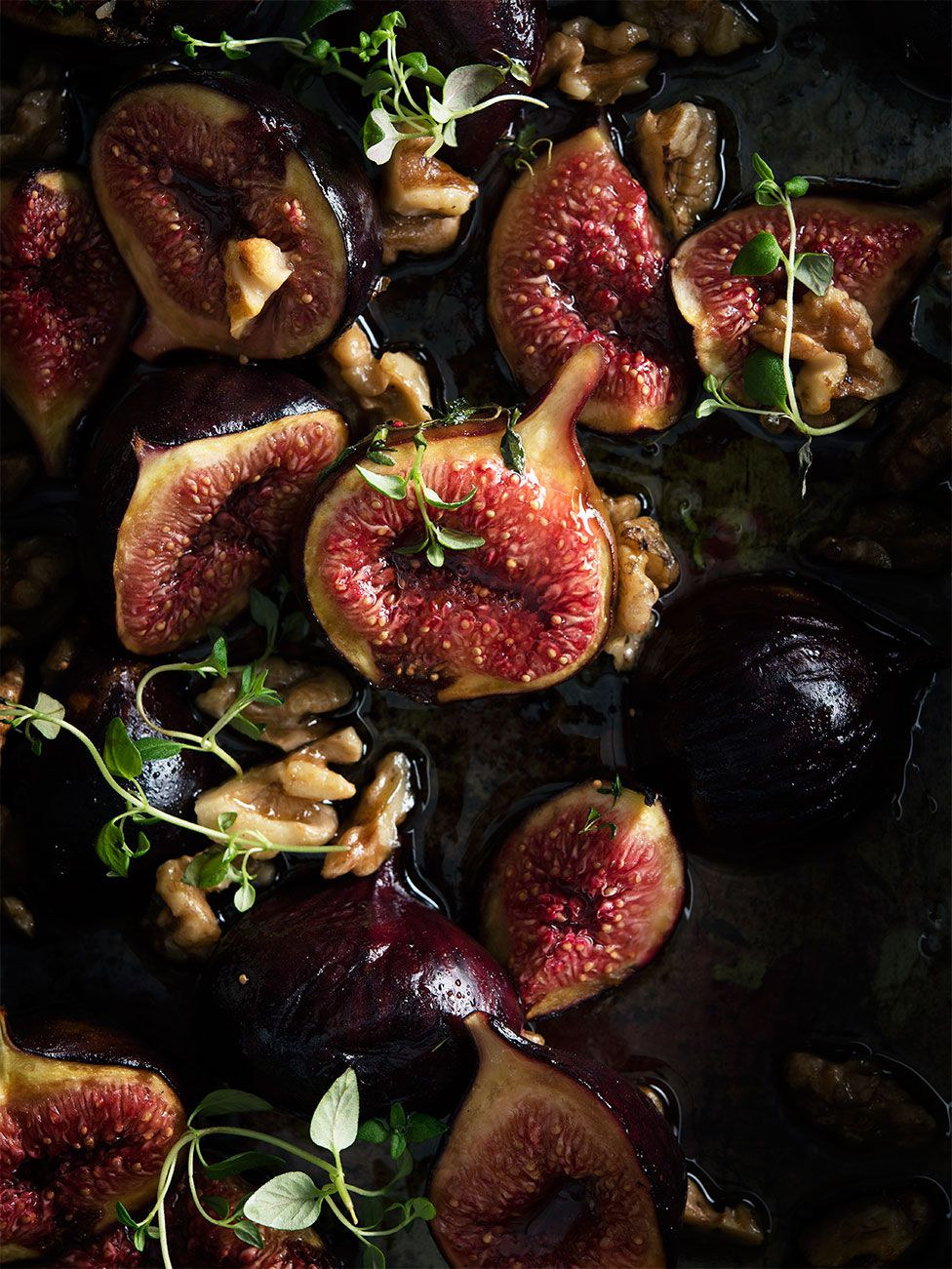 Close up image of baked figs