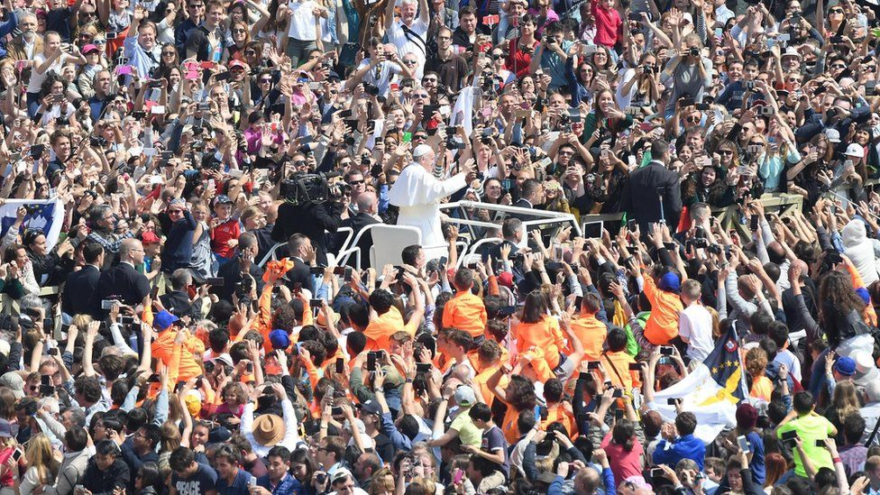 The pontiff travelled through the crowds in his so-called Popemobile