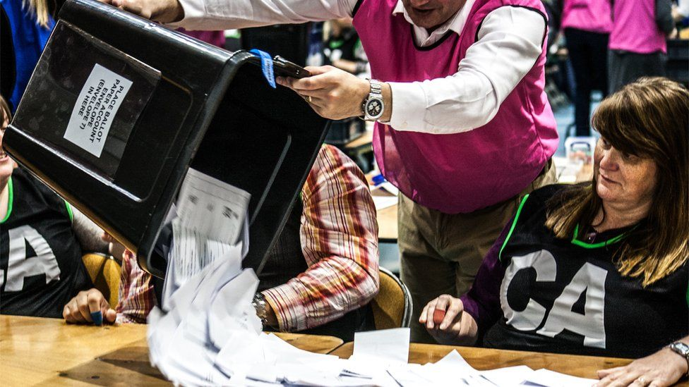 Emptying a ballot box onto a counting table