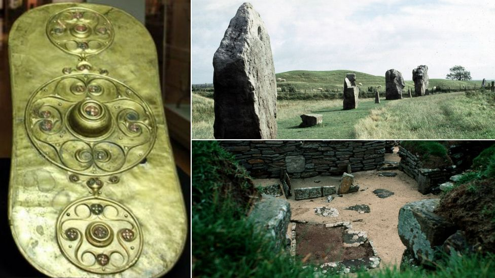 Battersea shield, Avebury and Skara Brae