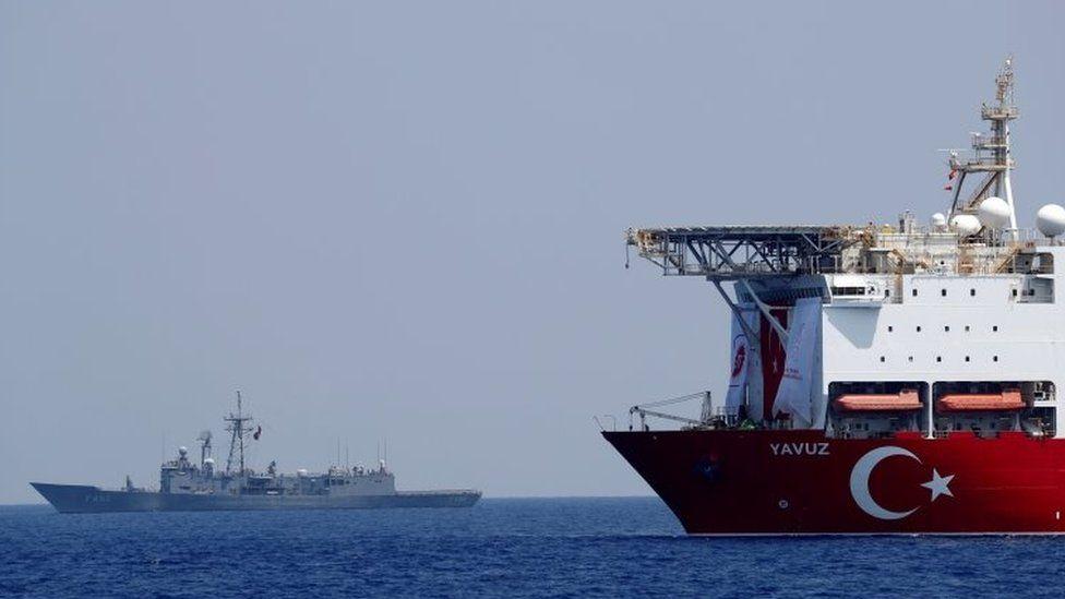 The Turkish drilling vessel Yavuz is seen being escorted by a Turkish Navy frigate in the Eastern Mediterranean