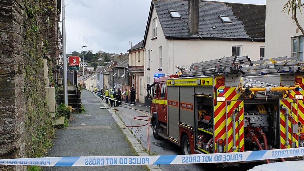 Fire engine on scene