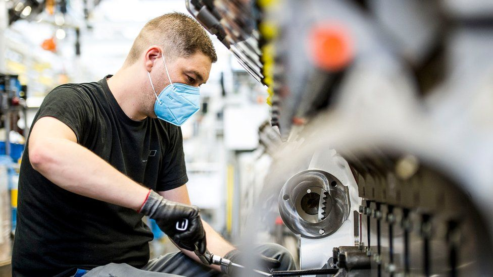 Rolls-Royce Power Systems worker at the firm's base in Friedrichshafen