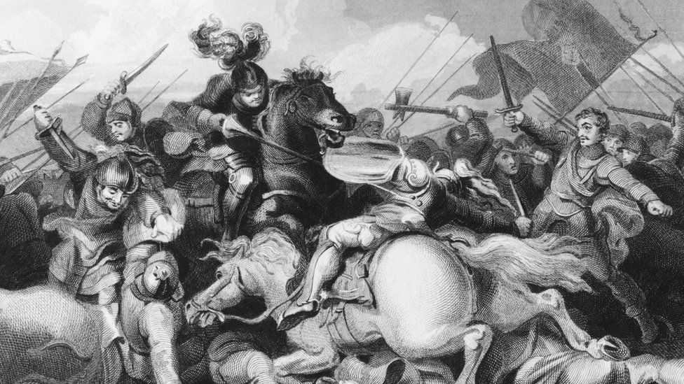 """King Richard III""""s Yorkist troops fight Lancastrians in the Battle of Bosworth Field, during the Wars of the Roses, 22nd August 1485. K"""